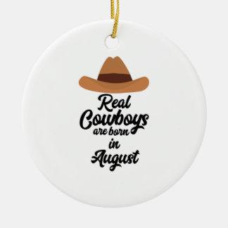 Os vaqueiros reais são bon em agosto Zajra Ornamento De Cerâmica Redondo