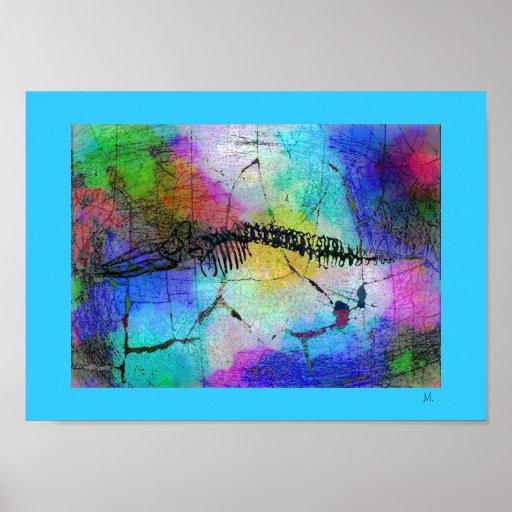Ossos da baleia no poster do pop art de Psychedel