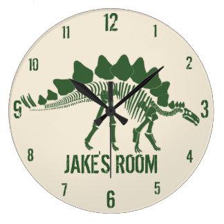 Ossos de dinossauro personalizados relógio grande
