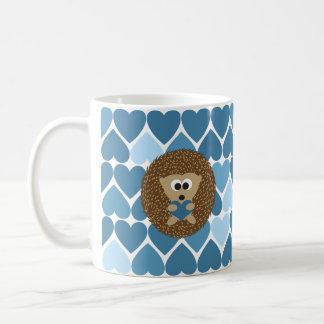Ouriço e corações azuis caneca de café