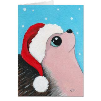 Ouriço festivo do Natal Cartão Comemorativo