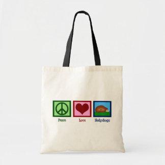 Ouriços do amor da paz sacola tote budget