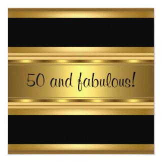 Ouro 50 e festa de aniversário fabulosa convite quadrado 13.35 x 13.35cm