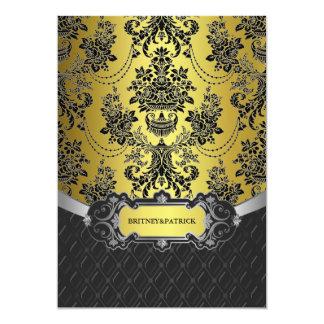 Ouro amarelo & convites pretos do casamento tema convite 12.7 x 17.78cm