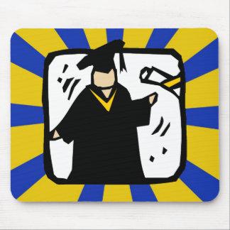 Ouro & azul de recepção graduados do diploma (2) mouse pads