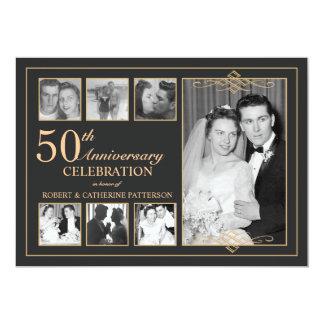 Ouro clássico & aniversário de casamento preto da convite 12.7 x 17.78cm