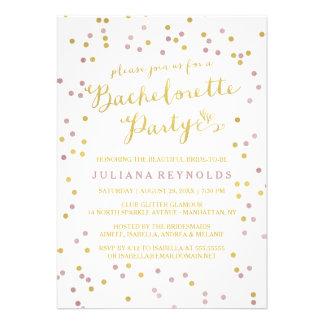 Ouro & convite cor-de-rosa da festa de solteira