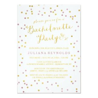 Ouro & convite cor-de-rosa da festa de solteira convite 12.7 x 17.78cm