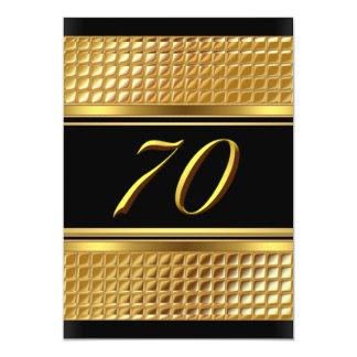 Ouro & convite de aniversário preto do 70