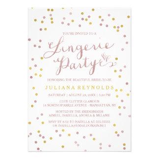 Ouro & convite de festas cor-de-rosa da lingerie