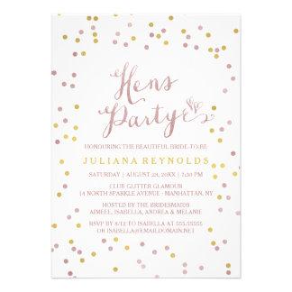 Ouro & convite de festas cor-de-rosa das galinhas