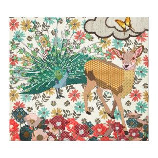 Ouro cor-de-rosa & arte floral das canvas do pavão impressão em tela