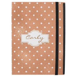 Ouro cor-de-rosa com caso do iPad das bolinhas pro