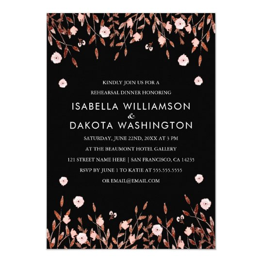 Ouro cor-de-rosa & jantar de ensaio floral convite 12.7 x 17.78cm