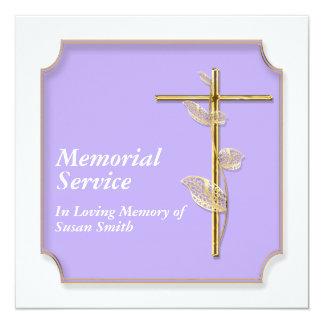 Ouro da cruz do anúncio da cerimonia comemorativa convite quadrado 13.35 x 13.35cm
