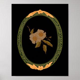 Ouro decorativo e quadro verde pôster