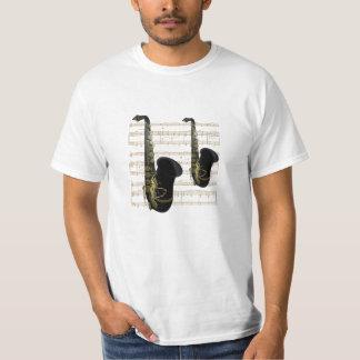 Ouro do baixo custo e camisa preta da música T dos T-shirts