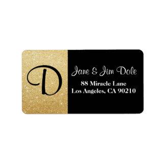 Ouro do monograma & etiqueta de endereço do