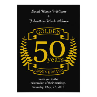 Ouro DOURADO 50 anos de aniversário de casamento Convite 12.7 X 17.78cm