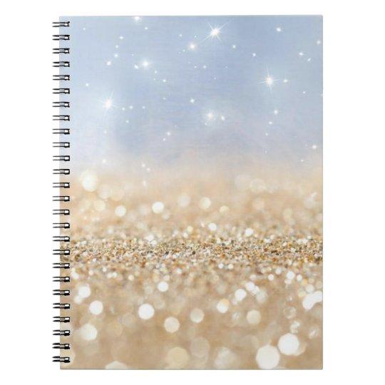 Ouro e brilho azul caderno espiral