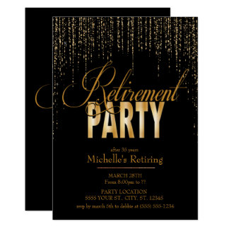Ouro e convites de festas pretos da aposentadoria
