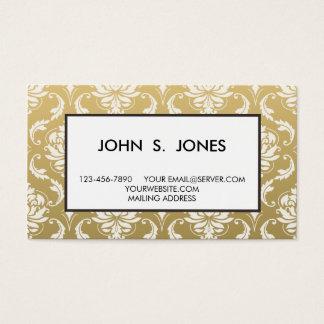 Ouro e damasco clássico branco cartão de visitas