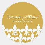 Ouro e etiqueta branca do favor do casamento da adesivo