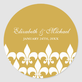 Ouro e etiqueta branca do favor do casamento da fl adesivo