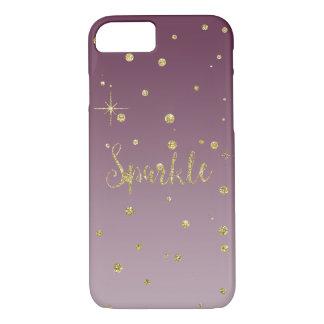 Ouro e faísca cor-de-rosa dos confetes do brilho capa iPhone 8/7