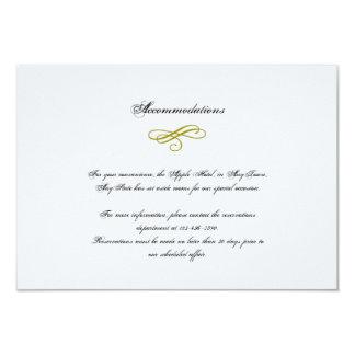 Ouro e inserção branca do casamento da pena do convite 8.89 x 12.7cm