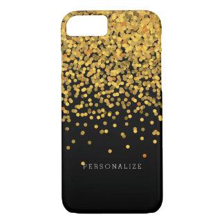 Ouro e pontos Glam dos confetes do preto Capa iPhone 8/7