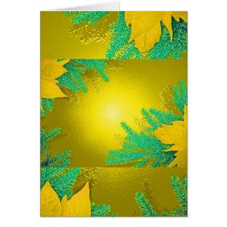 Ouro e verde da poinsétia do Natal Cartão Comemorativo