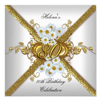 Ouro elegante da margarida branca da festa de convite quadrado 13.35 x 13.35cm