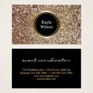 Ouro elegante do brilho do falso do planejador de cartão de visitas