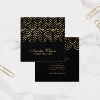 Ouro elegante do falso do preto do planejador de cartão de visitas quadrado