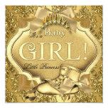 Ouro elegante do ouro do bebé da princesa chá de convite personalizado