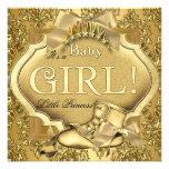 Ouro elegante do ouro do bebé da princesa chá de f convite personalizado