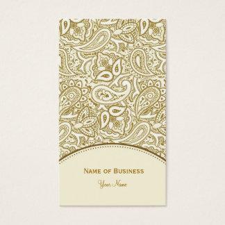 Ouro elegante e damasco branco de Paisley Cartão De Visitas