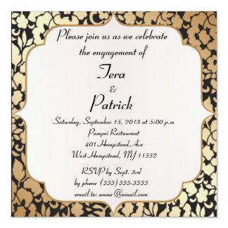 Ouro metálico e festa de noivado floral preta convite quadrado 13.35 x 13.35cm