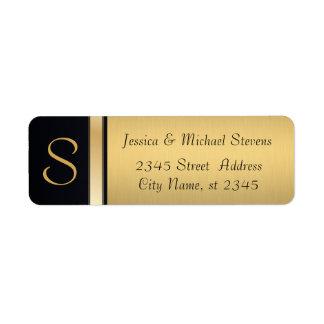 Ouro moderno elegante/casamento preto do monograma etiqueta endereço de retorno
