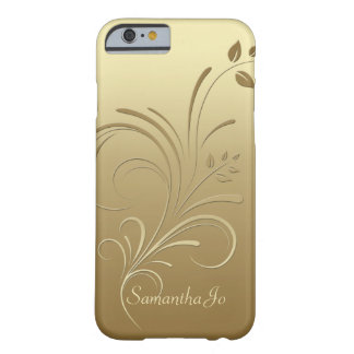 Ouro no caso floral do iPhone 6 do monograma dos Capa iPhone 6 Barely There