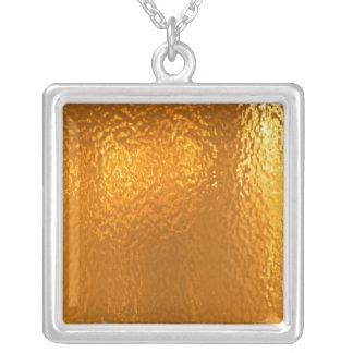 Ouro PURO - amor e calor Colar Com Pendente Quadrado