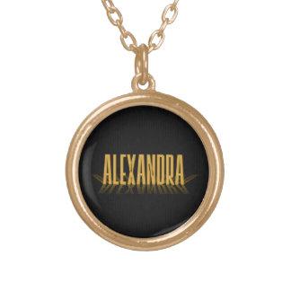 Ouro retro personalizado de Alexandra do cartaz Colar Com Pendente Redondo