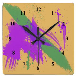 Ouro verde roxo da pintura das aguarelas da arte relógio quadrado