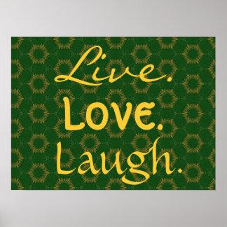 Ouro vivo do riso do amor e teste padrão verde 005 pôster