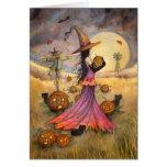 Outubro coloca a fantasia da bruxa e dos gatos do  cartões