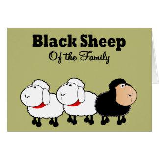 Ovelhas negras engraçadas da família cartão