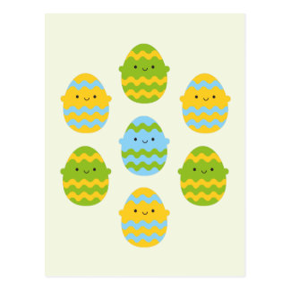 Ovos da páscoa de Kawaii Cartão Postal