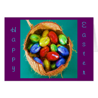 Ovos da páscoa na cesta II Cartão Comemorativo