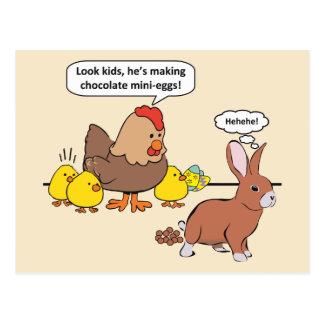 Ovos de chocolate engraçados do coelhinho da cartão postal